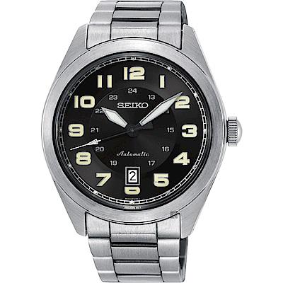 SEIKO 精工 飛行時代機械手錶-黑x銀/44mm