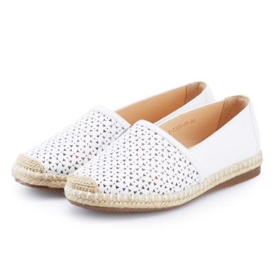 ORIN 花紋簍空牛皮平底便鞋 白色