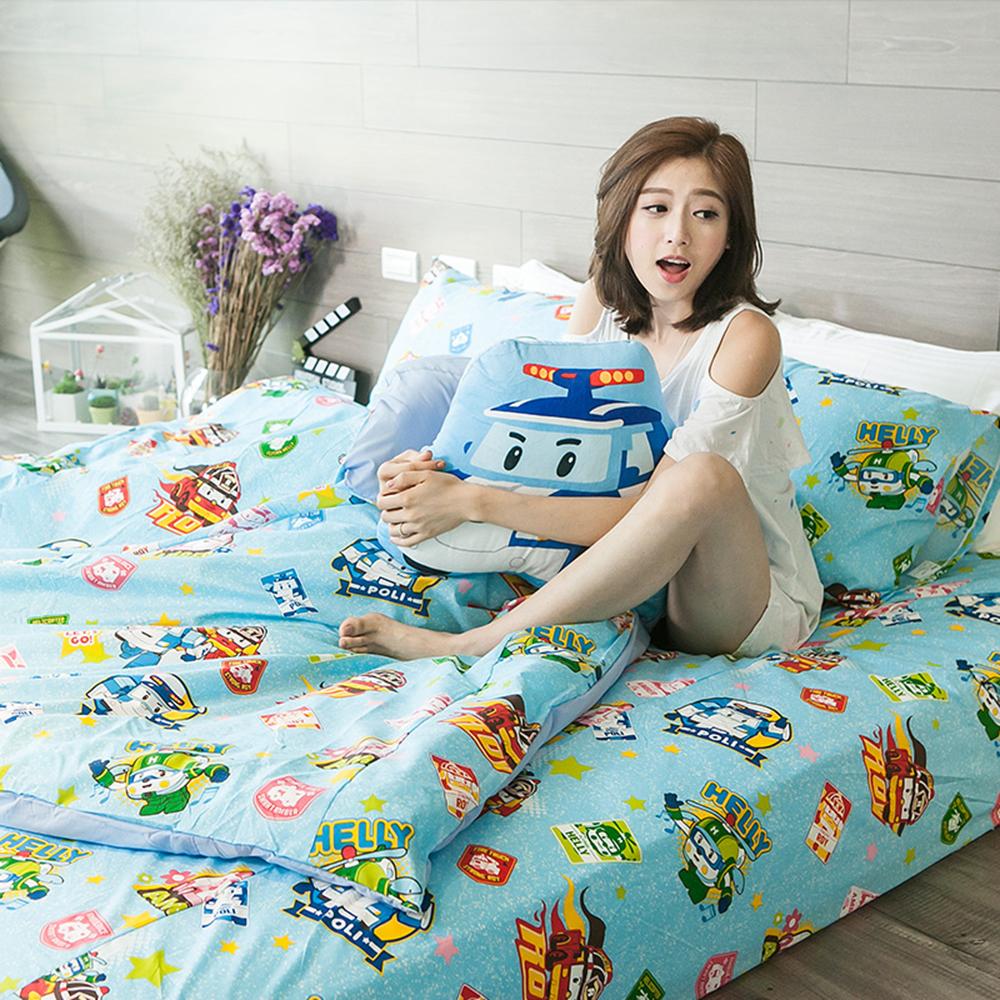 戀家小舖 / 單人床包被套組  波力救援小英雄-藍  高密度磨毛布  台灣製