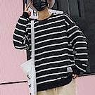 BuyGlasses 布標條紋棉質落肩長袖上衣