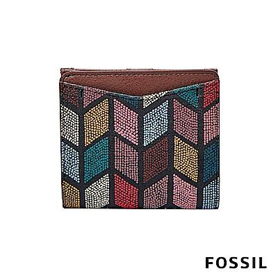 FOSSIL Caroline 復古優雅RFID真皮短夾-彩繪