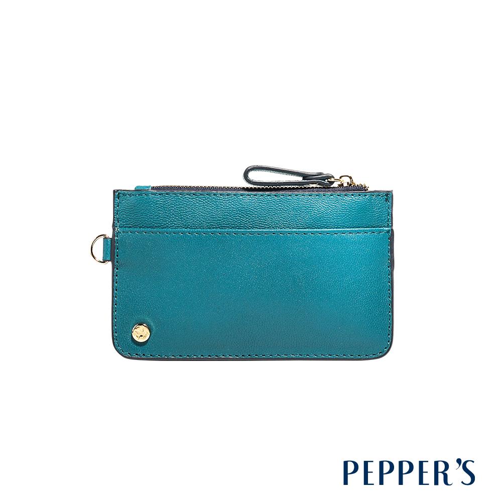 PEPPER`S Ellie 羊皮撞色鑰匙卡夾包 - 土耳其藍