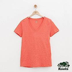 女裝Roots 素面短袖T恤-紅