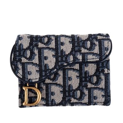 DIOR 經典Dior Oblique緹花布SADDLE LOTUS三折小款短夾 (藍色)