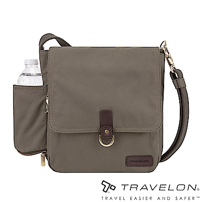 Travelon美國防盜包 防割鋼網休閒旅行斜背包TL-33305-18石灰/帆布包