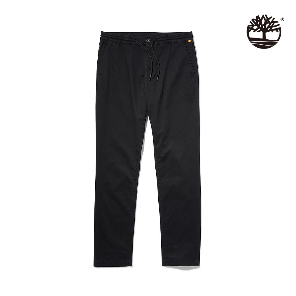 Timberland 男款黑色修身彈性斜紋慢跑長褲|A2BZW