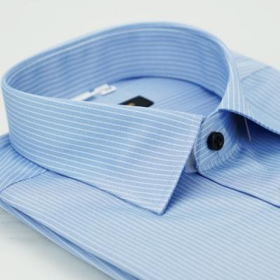 金‧安德森 藍底白條紋黑釦窄版短袖襯衫fast