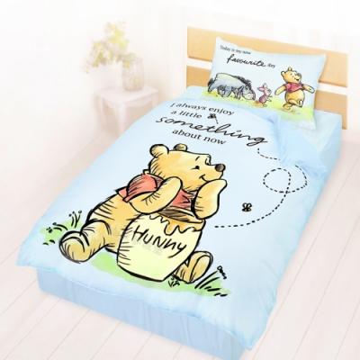 享夢城堡 單人床包雙人涼被三件組-迪士尼小熊維尼Pooh 蜂蜜小事-米黃.藍