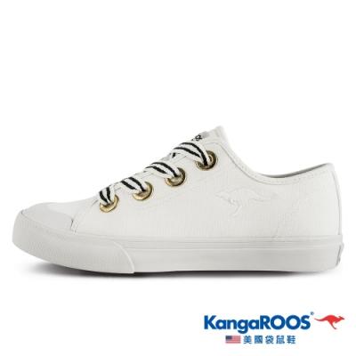 KangaROOS 美國袋鼠鞋 女 FANCY寬綁帶手工帆布鞋/餅乾鞋/休閒鞋(米白-KW11289)