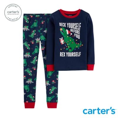 Carter s台灣總代理 滿版聖誕恐龍家居服2件組套裝