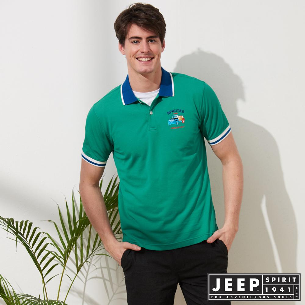 JEEP 簡約運動風休閒短袖POLO衫-綠色