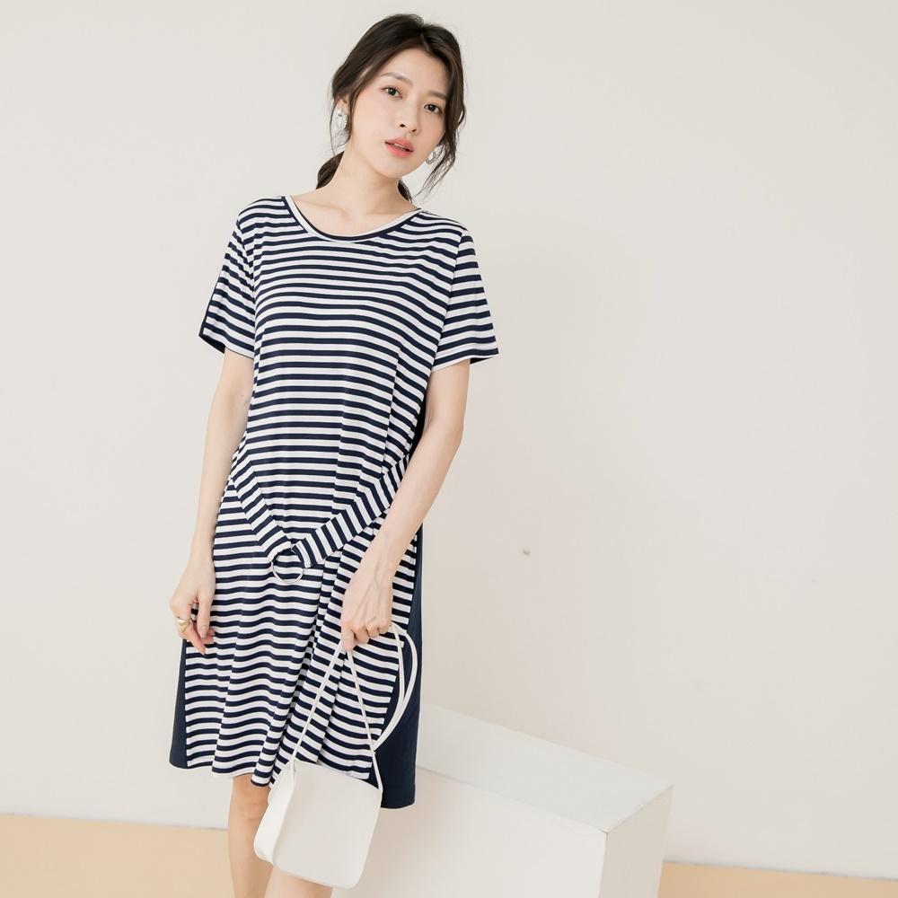 高含棉配色條紋拼接純色修身腰帶短袖洋裝-OB嚴選
