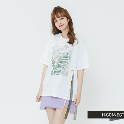H:CONNECT 韓國品牌 女裝-造型織帶印花T-shirt-白