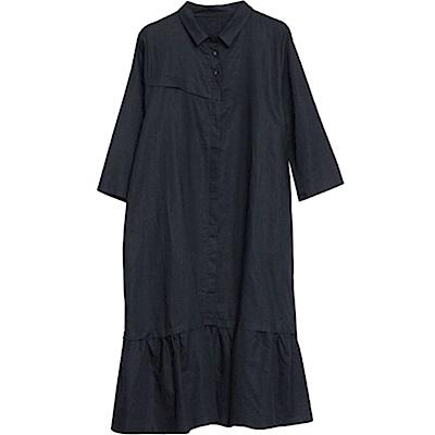 寬鬆棉麻口袋襯衫連身長裙M-2XL(共二色)-Keer