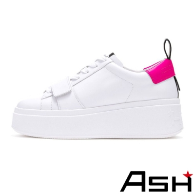 ASH-MIRACLE魔術貼設計亮色厚底小白鞋-粉
