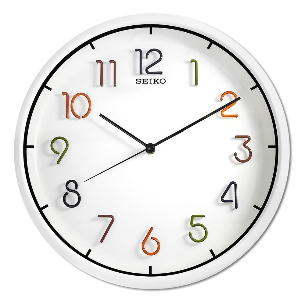 SEIKO 精工 / 彩虹糖果 立體數字 滑動式秒針 簡約風 靜音 圓掛鐘 - 白色