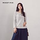 【MASTINA】方領條紋長袖-上衣(二色)