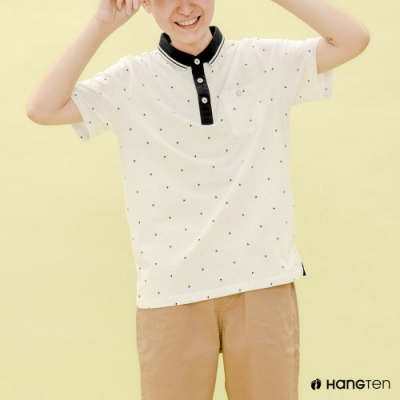 Hang Ten-青少童裝-純棉點點POLO衫-白