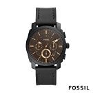 FOSSIL MACHINE 咖啡色三眼壓紋錶殼黑色皮革手錶( FS5586)