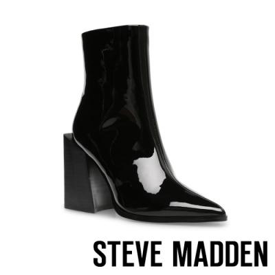 STEVE MADDEN-TYSEN 漆皮質感拉鍊粗高跟中筒靴-鏡黑