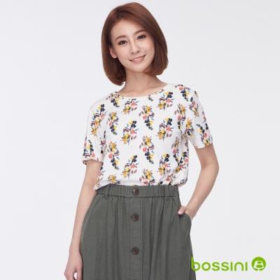 bossini女裝-圓領全版印花上衣07奶白