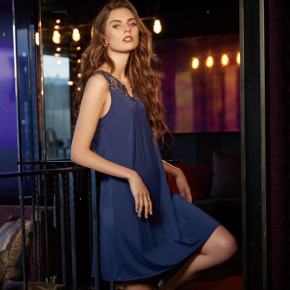 曼黛瑪璉 Marie One家居睡衣-無袖洋裝(雅致藍)