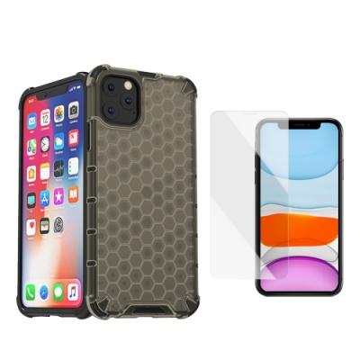 [買手機殼送保護貼] iPhone 11 Pro 冰晶灰 四角防摔 透光蜂巢手機殼 (iPhone11Pro手機殼 iPhone11Pro保護殼 )
