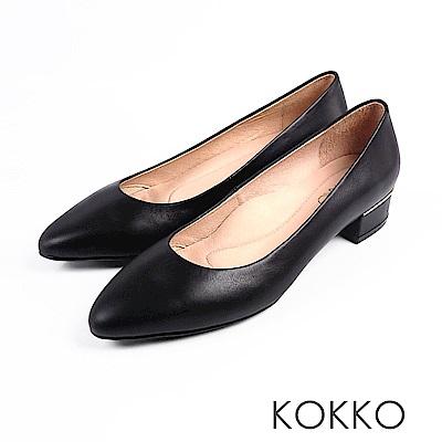 KOKKO -女力時代素面真皮舒壓中跟鞋-經典黑