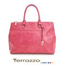 義大利Terrazzo -蠟感牛皮粉紅真皮醫生包23J0011A10144