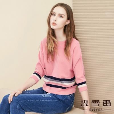 【麥雪爾】甜美飛鼠袖短版針織毛衣-粉