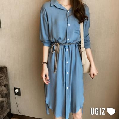 UGIZ-顯瘦氣質排扣綁帶造型洋裝-3色(M-XL)