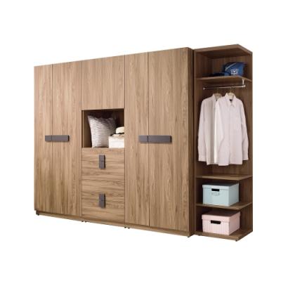 Boden-伊斯坦8.6尺多功能收納衣櫃組合(開門+開放式)-258x60x197cm