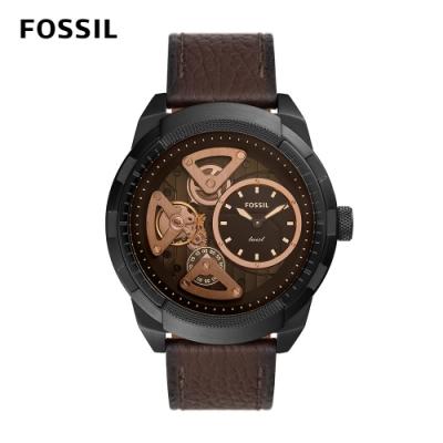FOSSIL Bronson Twist 科技感機械咖啡色真皮男錶 50 MM ME1172