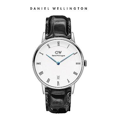 DW 手錶 官方旗艦店 34mm銀框 Dapper 爵士黑真皮壓紋錶