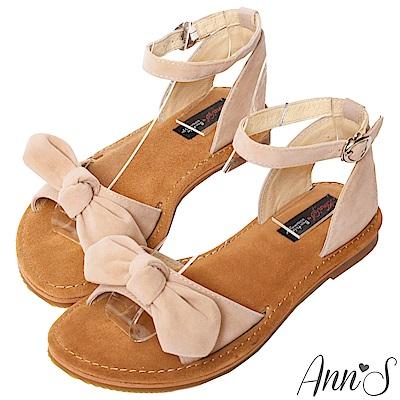Ann'S水洗牛皮-甜美扭結寬版平底涼鞋-杏