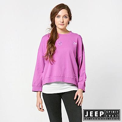 JEEP 女裝 甜美落肩短版長袖TEE -紫紅