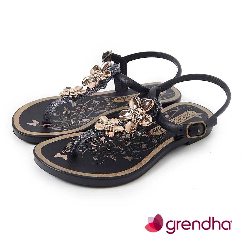 Grendha 金屬霓采花漾涼鞋-女童-黑色/金