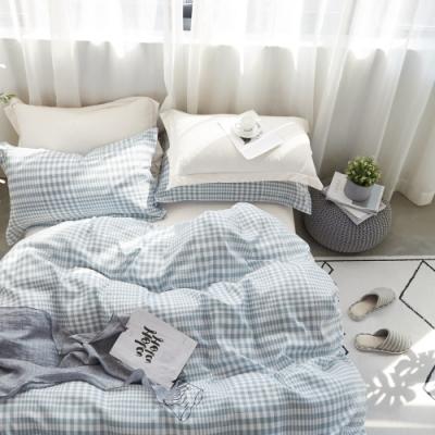 La Lune  MIT頂級精梳棉200織紗雙人床包枕套3件組 藍色戀人