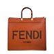 FENDI Sunshine Shopper 棕色皮革Fendi Logo圖案手提袋 product thumbnail 1