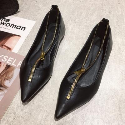 KEITH-WILL時尚鞋館 歡樂單品紛紛揚拉鍊尖頭鞋-黑