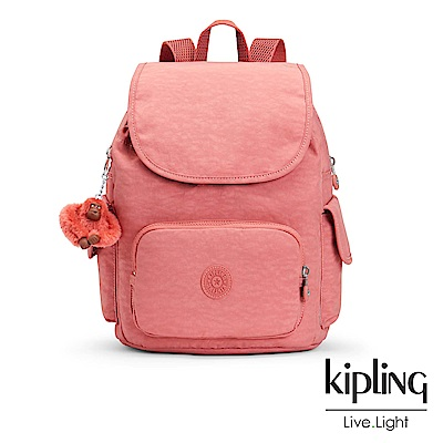 Kipling經典款微甜薔薇粉掀蓋後背包-CITY PACK S