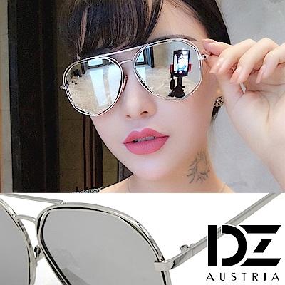 【2件59折】DZ 幾何鏤空角切線 抗UV防曬太陽眼鏡墨鏡(銀框水銀膜)