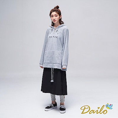 Dailo INLook 毛茸茸字母長版帽T(灰色)