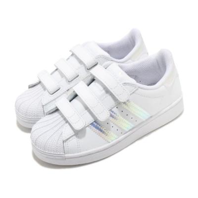 adidas 休閒鞋 Superstar CF C 童鞋 愛迪達 三葉草 貝殼頭 魔鬼氈 中童 白 銀 FV3655