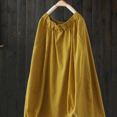 中長版寬鬆棉麻中長身裙垂墜感高腰裙-設計所在
