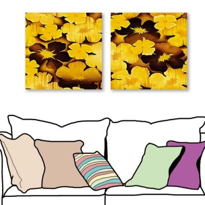 24mama掛畫-二聯式 黃金花卉 除舊佈新 喜氣無框畫 60X60cm-財氣