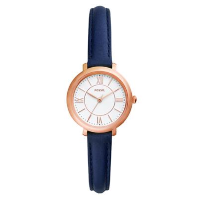 FOSSIL 氣質海軍藍皮革女錶(ES4410)-27mm