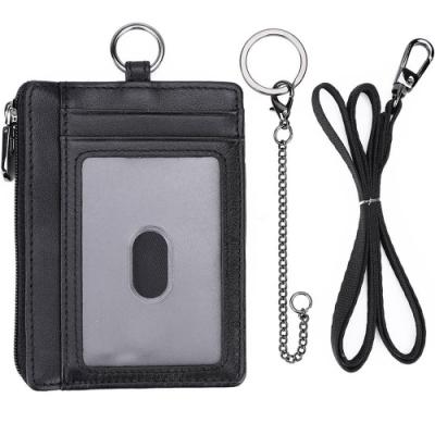 《Kinzd》掛繩皮革防盜證件卡夾(黑)