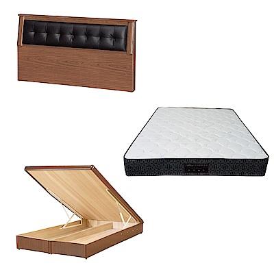 綠活居 亞凱6尺雙人加大床台三式組合(床頭片+後掀床底+防蹣抗菌獨立筒)五色可選