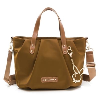 PLAYBOY - 手提包附長背帶 Lively系列 - 咖啡色